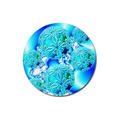Blue Ice Crystals, Abstract Aqua Azure Cyan Rubber Coaster (Round)