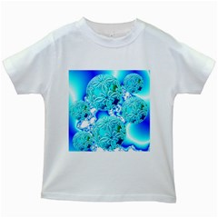 Blue Ice Crystals, Abstract Aqua Azure Cyan Kids White T-Shirt