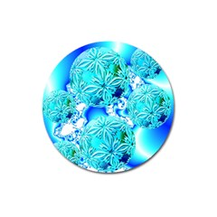 Blue Ice Crystals, Abstract Aqua Azure Cyan Magnet 3  (round)