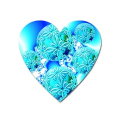 Blue Ice Crystals, Abstract Aqua Azure Cyan Magnet (Heart)