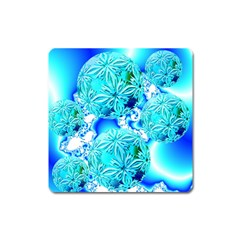 Blue Ice Crystals, Abstract Aqua Azure Cyan Magnet (Square)