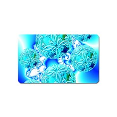 Blue Ice Crystals, Abstract Aqua Azure Cyan Magnet (Name Card)