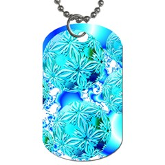 Blue Ice Crystals, Abstract Aqua Azure Cyan Dog Tag (One Side)