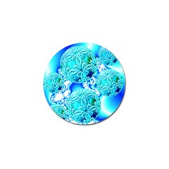 Blue Ice Crystals, Abstract Aqua Azure Cyan Golf Ball Marker