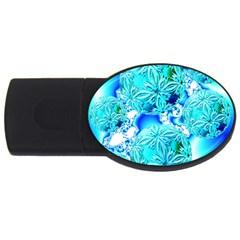 Blue Ice Crystals, Abstract Aqua Azure Cyan USB Flash Drive Oval (1 GB)