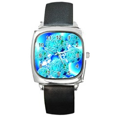 Blue Ice Crystals, Abstract Aqua Azure Cyan Square Metal Watch