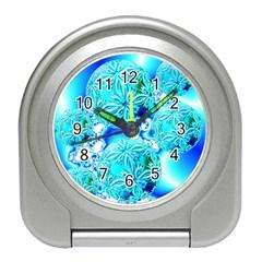 Blue Ice Crystals, Abstract Aqua Azure Cyan Travel Alarm Clock