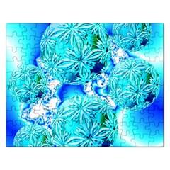 Blue Ice Crystals, Abstract Aqua Azure Cyan Jigsaw Puzzle (Rectangular)