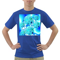Blue Ice Crystals, Abstract Aqua Azure Cyan Dark T-Shirt