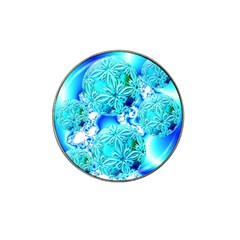 Blue Ice Crystals, Abstract Aqua Azure Cyan Hat Clip Ball Marker (4 Pack)