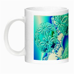 Blue Ice Crystals, Abstract Aqua Azure Cyan Night Luminous Mug