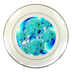 Blue Ice Crystals, Abstract Aqua Azure Cyan Porcelain Plate
