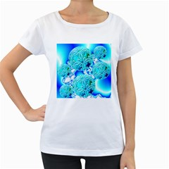 Blue Ice Crystals, Abstract Aqua Azure Cyan Women s Loose Fit T Shirt (white)