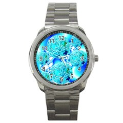 Blue Ice Crystals, Abstract Aqua Azure Cyan Sport Metal Watch