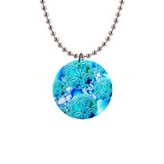 Blue Ice Crystals, Abstract Aqua Azure Cyan 1  Button Necklace