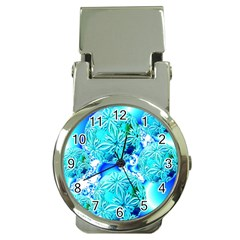 Blue Ice Crystals, Abstract Aqua Azure Cyan Money Clip Watch