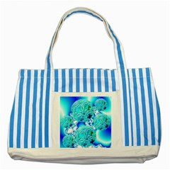 Blue Ice Crystals, Abstract Aqua Azure Cyan Striped Blue Tote Bag
