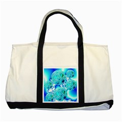Blue Ice Crystals, Abstract Aqua Azure Cyan Two Tone Tote Bag