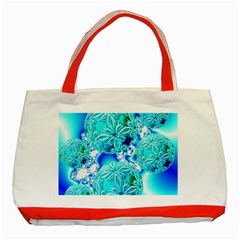 Blue Ice Crystals, Abstract Aqua Azure Cyan Classic Tote Bag (Red)
