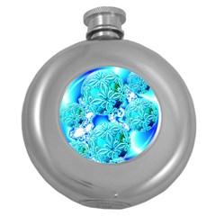 Blue Ice Crystals, Abstract Aqua Azure Cyan Hip Flask (5 oz)