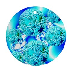 Blue Ice Crystals, Abstract Aqua Azure Cyan Round Ornament (two Sides)