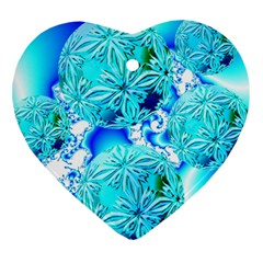 Blue Ice Crystals, Abstract Aqua Azure Cyan Heart Ornament (Two Sides)