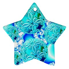 Blue Ice Crystals, Abstract Aqua Azure Cyan Star Ornament (Two Sides)
