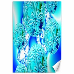 Blue Ice Crystals, Abstract Aqua Azure Cyan Canvas 12  x 18