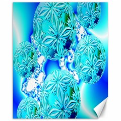 Blue Ice Crystals, Abstract Aqua Azure Cyan Canvas 16  X 20