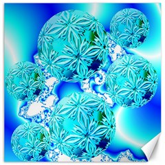 Blue Ice Crystals, Abstract Aqua Azure Cyan Canvas 20  x 20