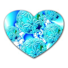 Blue Ice Crystals, Abstract Aqua Azure Cyan Mousepad (Heart)