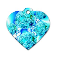 Blue Ice Crystals, Abstract Aqua Azure Cyan Dog Tag Heart (Two Sides)