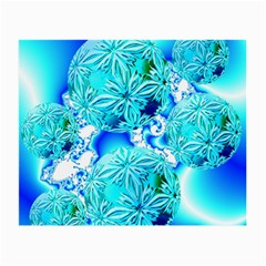 Blue Ice Crystals, Abstract Aqua Azure Cyan Glasses Cloth (Small, Two Sides)