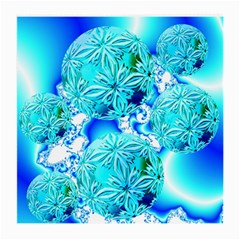 Blue Ice Crystals, Abstract Aqua Azure Cyan Glasses Cloth (Medium, Two Sides)
