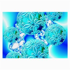 Blue Ice Crystals, Abstract Aqua Azure Cyan Glasses Cloth (Large)