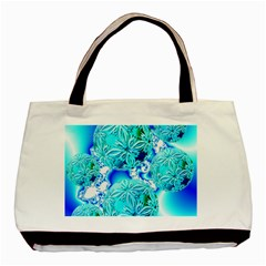Blue Ice Crystals, Abstract Aqua Azure Cyan Classic Tote Bag (Two Sides)
