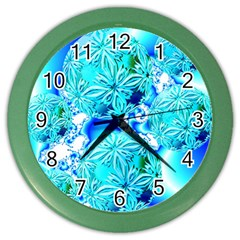 Blue Ice Crystals, Abstract Aqua Azure Cyan Color Wall Clock