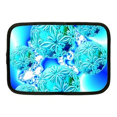 Blue Ice Crystals, Abstract Aqua Azure Cyan Netbook Case (medium)