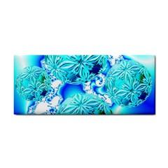 Blue Ice Crystals, Abstract Aqua Azure Cyan Hand Towel