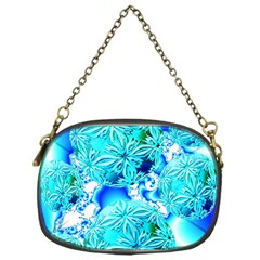 Blue Ice Crystals, Abstract Aqua Azure Cyan Chain Purse (One Side)