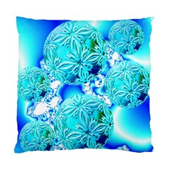 Blue Ice Crystals, Abstract Aqua Azure Cyan Cushion Case (One Side)
