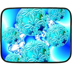 Blue Ice Crystals, Abstract Aqua Azure Cyan Mini Fleece Blanket(Two Sides)