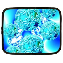 Blue Ice Crystals, Abstract Aqua Azure Cyan Netbook Case (xxl)