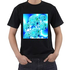 Blue Ice Crystals, Abstract Aqua Azure Cyan Men s T Shirt (black)