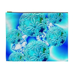 Blue Ice Crystals, Abstract Aqua Azure Cyan Cosmetic Bag (XL)
