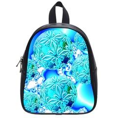 Blue Ice Crystals, Abstract Aqua Azure Cyan School Bag (small)