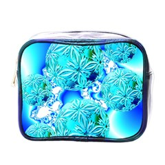 Blue Ice Crystals, Abstract Aqua Azure Cyan Mini Toiletries Bag (One Side)