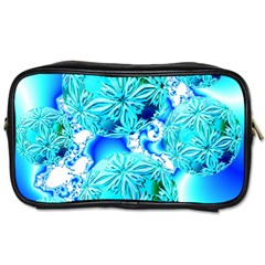 Blue Ice Crystals, Abstract Aqua Azure Cyan Toiletries Bag (Two Sides)