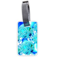 Blue Ice Crystals, Abstract Aqua Azure Cyan Luggage Tag (two sides)