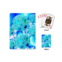Blue Ice Crystals, Abstract Aqua Azure Cyan Playing Cards (Mini)